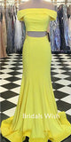 Two Pieces Light Yellow Straight Long Prom Dress EW0168