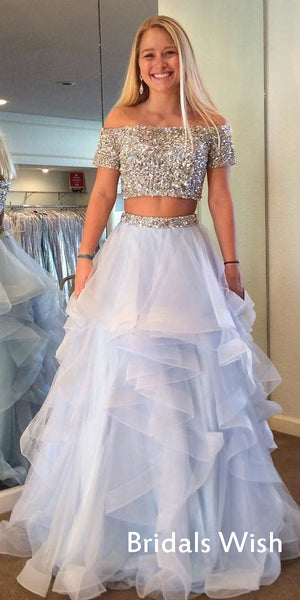 Affordable Two Pieces Off-shoulder Sequin Top Long Prom Dress EW0147