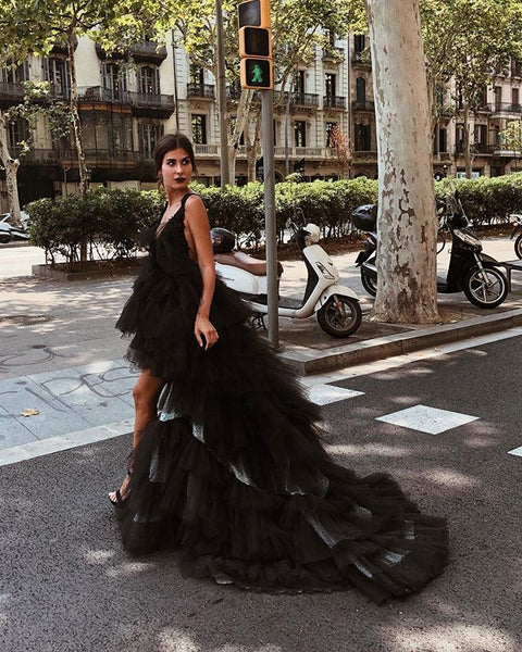Charming High-Low Tulle Bacless A-line Sleeveless Black Prom Dresses, BW2300