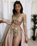 A-line Lace Sexy High Slit Long Sleeve See Through Unique Prom Dresses, BW4048