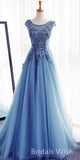 Blue Bateau Neck Applique Tulle Long Evening Prom Dresses, BW0247