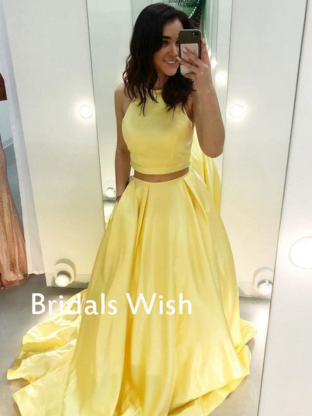 Unique Yellow Cowl Sleeveless Long Prom Dress EW0123