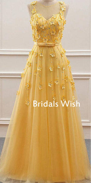 Beautiful Light Yellow Applique Beading Tulle Long Prom Dresses EW0155
