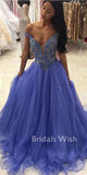 Beautiful Off-shoulder V-neck Sequin Tulle Long Prom Dress EW0164