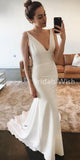 Beautiful White V-neck Sleeveless Mermaid Prom Dress With Train EW0134
