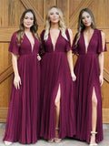Charming Deep V-Neck Side Slit Long Bridesmaid Dresses , BW0476