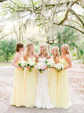 Pretty Light Yellow Spaghetti Strap Sweet Heart Long Bridesmaid Dresses , BW0430