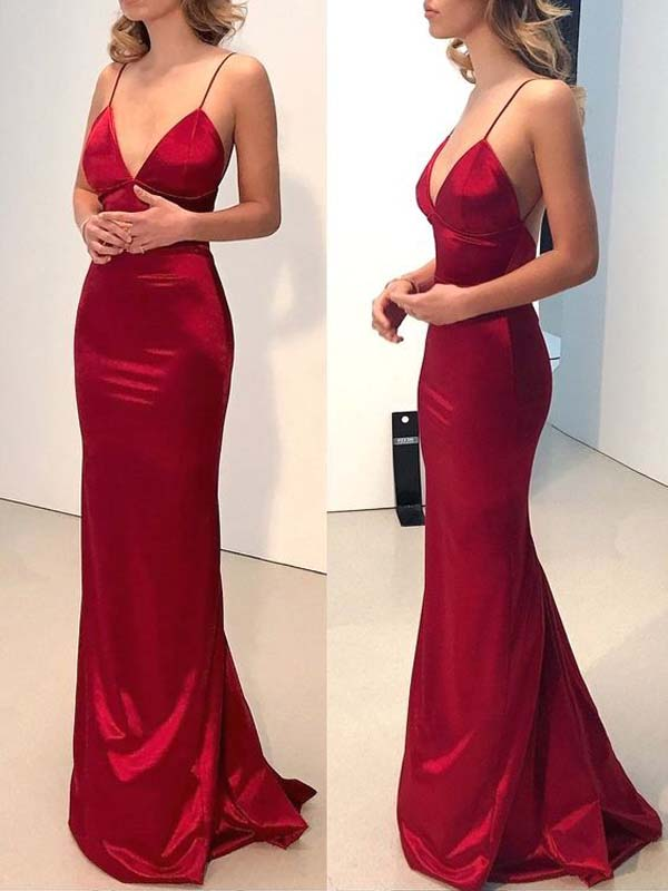 Red Spaghetti Strap V-Neck With Short Train Evening Prom Dresses, BW0181