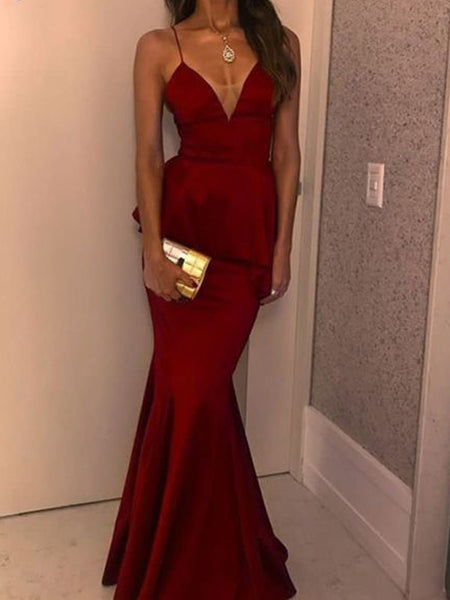 Charming Red Spaghetti Strap V-Neck Mermaid Long Evening Prom Dresses, BW0224