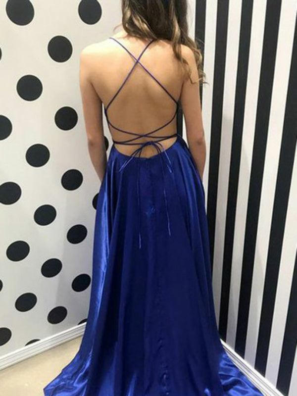 Gorgeous Royal Blue Backless Side Slit Sweep Train Evening Prom Dresses, BW0536