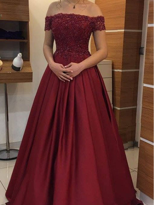 Burgundy Lace Top Off the Shoulder Long Evening Prom Dresses, BW0237