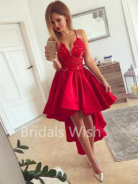 Red Lace Top High-low Deep V-Neck Spaghetti Strap Short Homecoming Dresses, BW0059