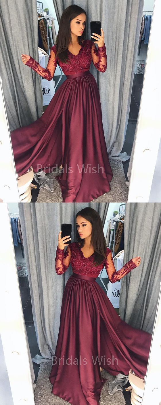 Gorgeous Burgundy Lace Top Long Sleeves Side Slit Long Evening Prom Dresses, BW0563