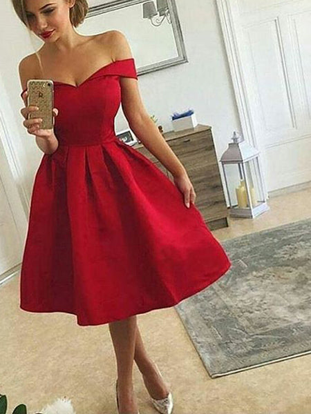 Charming Red off-the-shoulder Sweet Heart Short Homecoming Dresses, BW0096