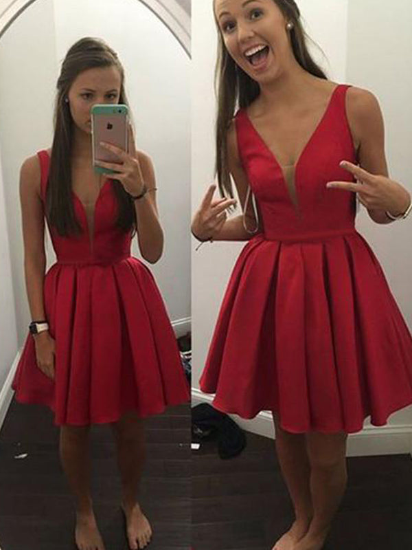 Simple Red Satin Deep V-Neck Knee length Short Homecoming Dresses, BW0095