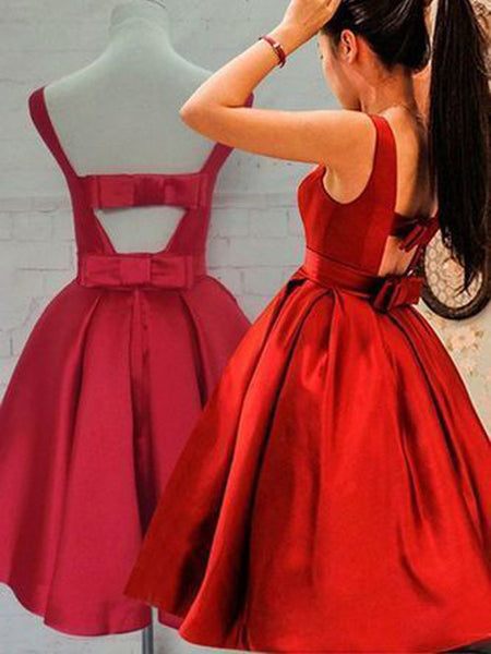 Bright Red Satin Bateau neck Short Homecoming Dresses, BW0210