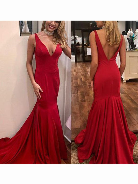 Red Mermaid Deep V-Neck Sweep Train Long Evening Prom Dresses, BW0355