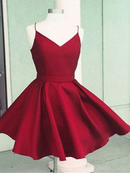Simple Red V-Neck Spaghetti Strap Short Homecoming Dresses, BW0264