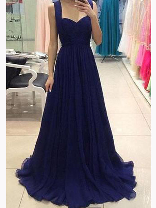 Modern Blue strap Sweet Heart Sweep Train Long Evening Prom Dresses, BW0337