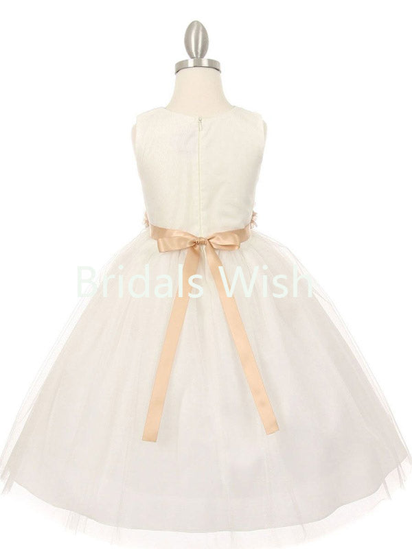 Little Girl Cute White V-neck Zipper Up Back Flower Waistband Flower Girl Dresses , BW0024