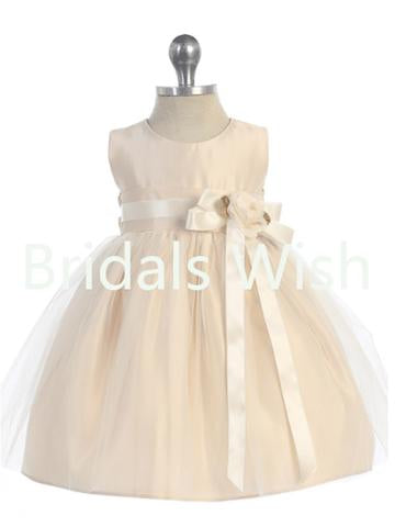 Lovely Pink Round Neck Satin Tulle Flower Girl Dresses , BW0018