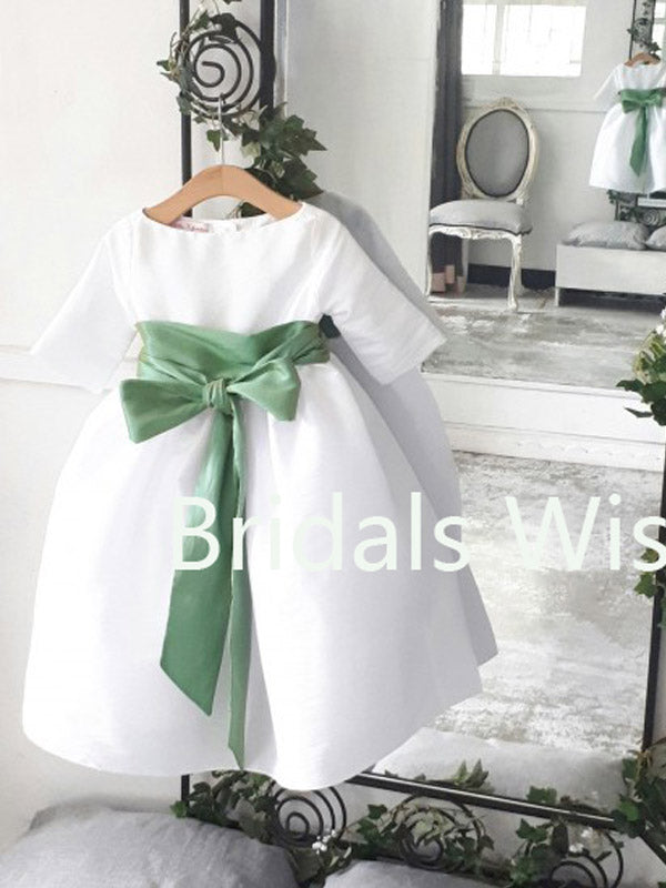 Adorable White Satin Long Sleeves with Green Waistband Flower Girl Dresses , BW0025