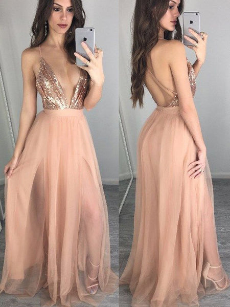 Sparkle Sequin Top Deep V-Neck Backless Spaghetti Strap Tulle Long Evening Prom Dresses, BW0334