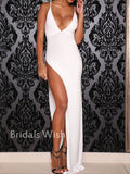 Cheap Spaghetti Strap V-Neck High Side Slit Long Evening Prom Dresses, BW0318