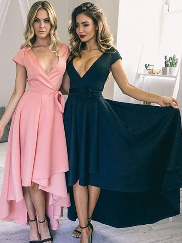 Elegant Pink&Teal Deep V-Neck High-Low Long Evening Prom Dresses, BW0132