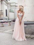 Charming Lace Top Applique Sweet Heart Pink Tulle Long Evening Prom Dresses, BW0303