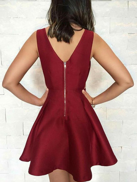 Unique Burgundy V-Neck Zipper Up Short Homecoming Dresses, BW0525
