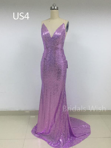 Cheap Shinning Sequin Purple V-Neck Backless Evening Prom Dresses, BW0614