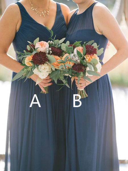 Cheap V-Neck & Halter Long Bridesmaid Dresses , BW0390