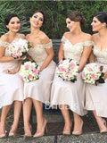 Cheap Lace Top Off Shoulder A-Line Keen Length Bridesmaid Dresses , BW0072