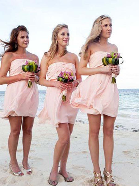 Lovely Pink Straight Cheap Short Bridesmaid Dresses, BW0174