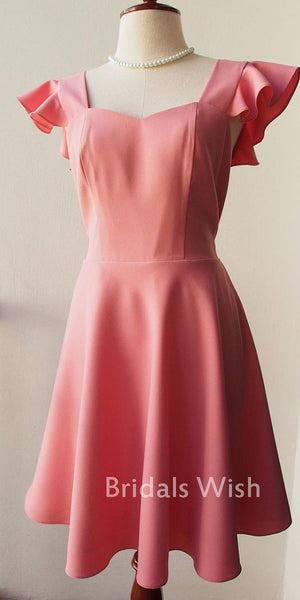 Beautiful Pink Short Sleeves Homecoming dress EW0172