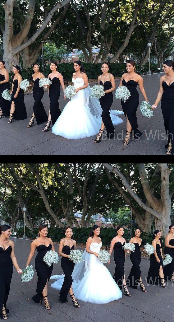 Mismatched Black Sweet Heart Front Split Floor Length Bridesmaid Dresses , BW0513
