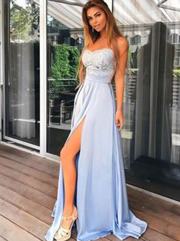 Inexpensive Light Blue Lace Top Side Slit Sweet Heart Long Evening Prom Dresses, BW0241