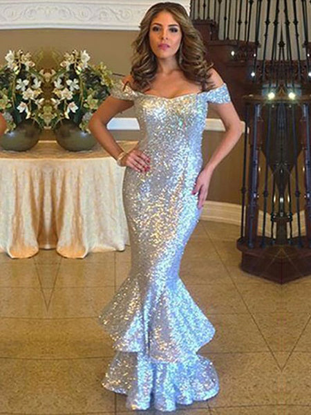 Sparkle Sequin Off the Shoulder Mermaid Floor Length Evening Prom Dresses, BW0549