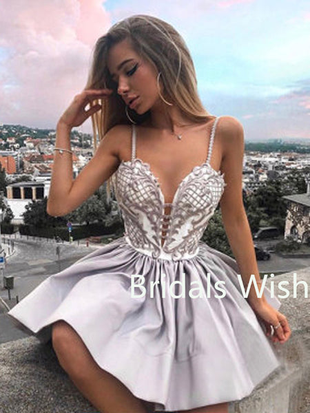 Silver Sweet Heart Spaghetti Strap Deep V-neck Short Homecoming Dresses, BW0042