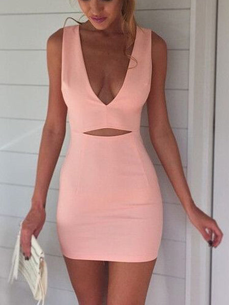 Lovely Pink Deep V-Neck Sleeveless Short Homecoming Dresses, BW0265