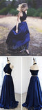 Two Pieces Black & Navy Blue Halter Long Evening Prom Dresses, BW0306