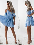 Charming Blue Lace Spaghetti Strap V-Neck Off the Shoulder Short Homecoming Dresses, BW0204