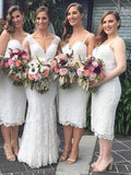 Charming Lace Spaghetti Strap Sweet Heart Tea Length Bridesmaid Dresses , BW0494