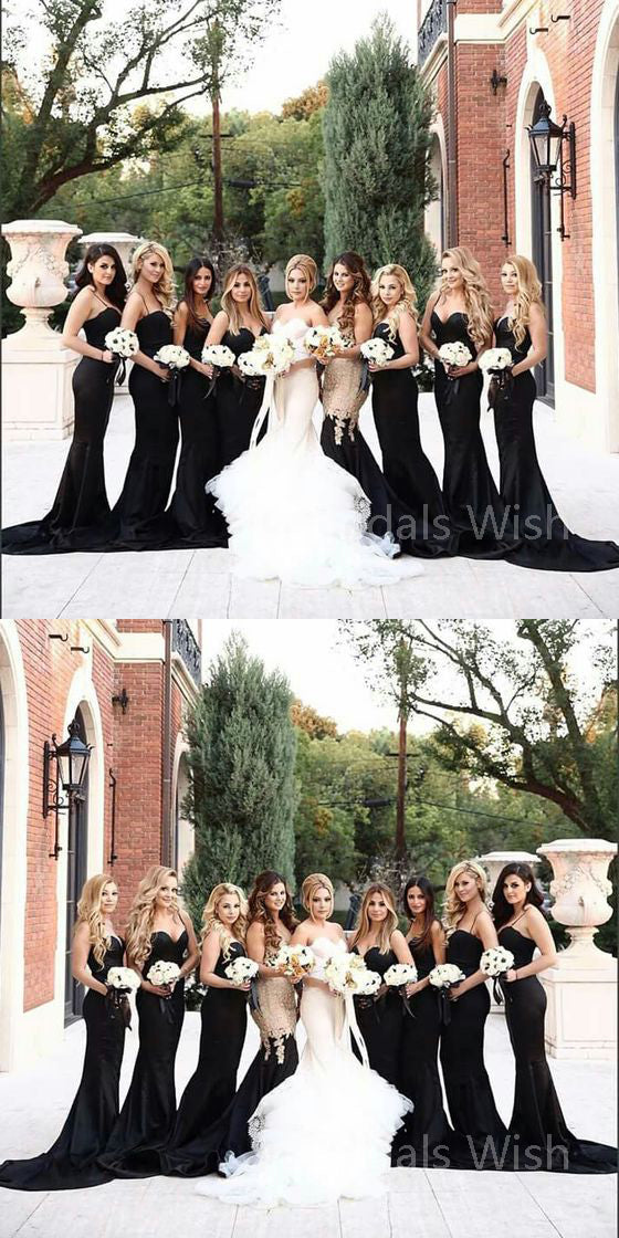 Elegant Black Spaghetti Strap Sweet Heart Sweep Train Bridesmaid Dresses , BW0514