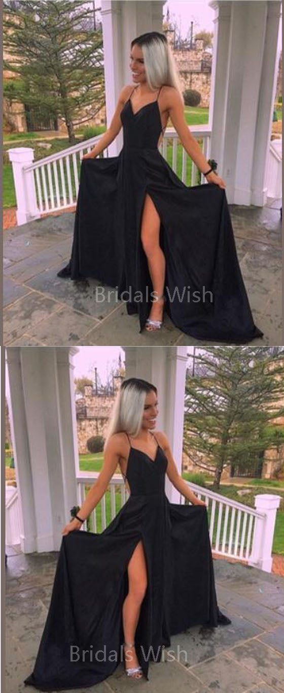 Elegant Black Spaghetti Strap V-Neck Backless Side Slit Long Evening Prom Dresses, BW0539