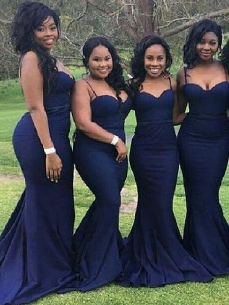 Cheap Navy Blue Spaghetti Strap Sweet Heart Mermaid Sweep Train Bridesmaid Dresses , BW0457