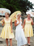 Simple Yellow Spaghetti Strap Sweet Heart Short Bridesmaid Dresses , BW0439