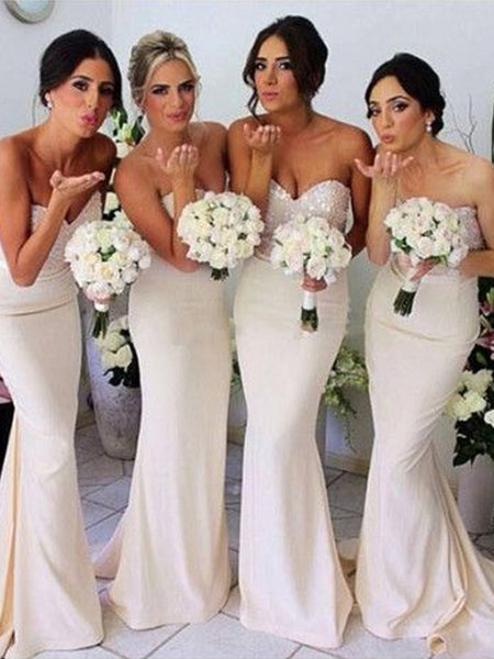 Sparkle Top Sweet Heart with Sweep Train Bridesmaid Dresses , BW0500