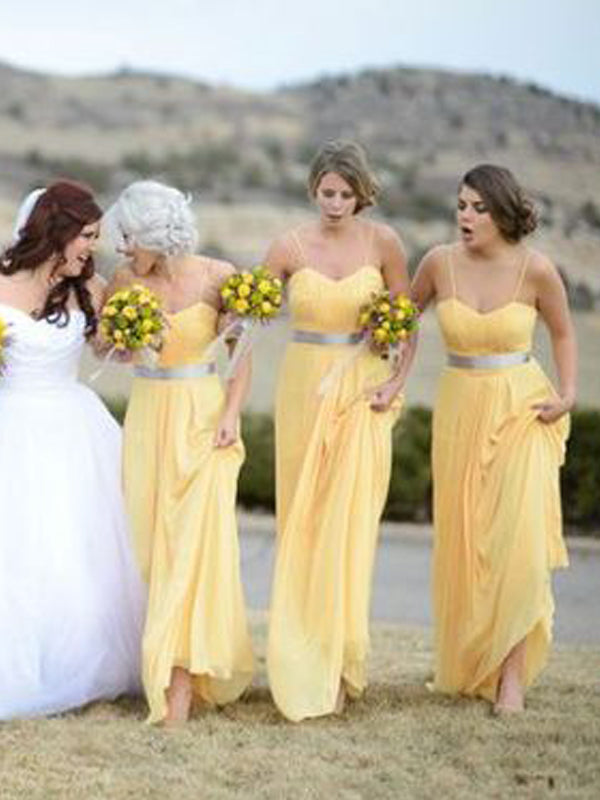 Pretty Yellow Spaghetti Strap Sweet Heart Long Bridesmaid Dresses , BW0487